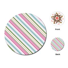 Diagonal Stripes Color Rainbow Pink Green Red Blue Playing Cards (round)  by Mariart