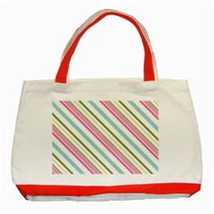 Diagonal Stripes Color Rainbow Pink Green Red Blue Classic Tote Bag (red) by Mariart