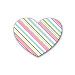 Diagonal Stripes Color Rainbow Pink Green Red Blue Heart Coaster (4 Pack)  by Mariart