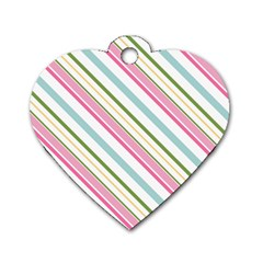 Diagonal Stripes Color Rainbow Pink Green Red Blue Dog Tag Heart (one Side) by Mariart
