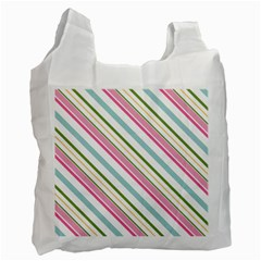 Diagonal Stripes Color Rainbow Pink Green Red Blue Recycle Bag (two Side)  by Mariart