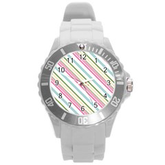 Diagonal Stripes Color Rainbow Pink Green Red Blue Round Plastic Sport Watch (l) by Mariart