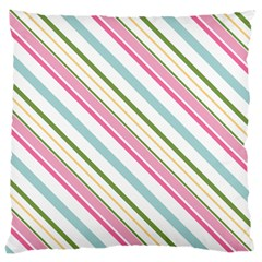 Diagonal Stripes Color Rainbow Pink Green Red Blue Large Cushion Case (one Side) by Mariart