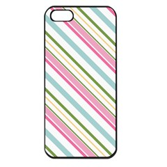 Diagonal Stripes Color Rainbow Pink Green Red Blue Apple Iphone 5 Seamless Case (black) by Mariart