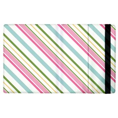 Diagonal Stripes Color Rainbow Pink Green Red Blue Apple Ipad 2 Flip Case by Mariart