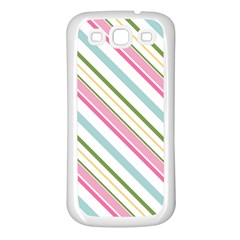 Diagonal Stripes Color Rainbow Pink Green Red Blue Samsung Galaxy S3 Back Case (white) by Mariart