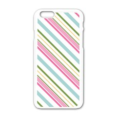 Diagonal Stripes Color Rainbow Pink Green Red Blue Apple Iphone 6/6s White Enamel Case by Mariart
