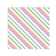 Diagonal Stripes Color Rainbow Pink Green Red Blue Small Satin Scarf (square) by Mariart