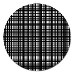 Crosshatch Target Line Black Magnet 5  (round) by Mariart