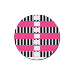 Custom Water Bottle Labels Line Black Pink Rubber Coaster (round)  by Mariart