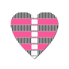 Custom Water Bottle Labels Line Black Pink Heart Magnet by Mariart