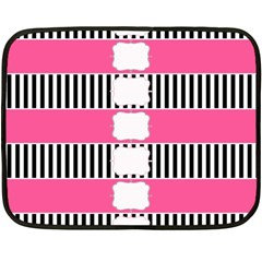 Custom Water Bottle Labels Line Black Pink Double Sided Fleece Blanket (mini)  by Mariart