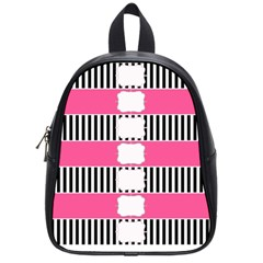Custom Water Bottle Labels Line Black Pink School Bags (small)  by Mariart