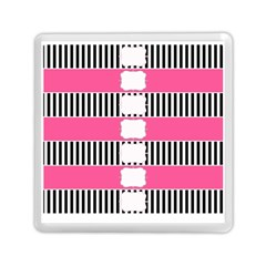 Custom Water Bottle Labels Line Black Pink Memory Card Reader (square)  by Mariart