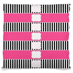 Custom Water Bottle Labels Line Black Pink Large Flano Cushion Case (one Side) by Mariart