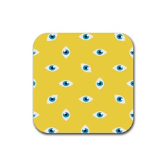 Eye Blue White Yellow Monster Sexy Image Rubber Square Coaster (4 Pack)