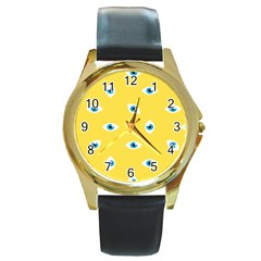 Eye Blue White Yellow Monster Sexy Image Round Gold Metal Watch