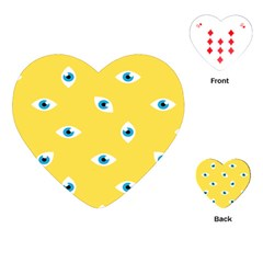 Eye Blue White Yellow Monster Sexy Image Playing Cards (heart)  by Mariart