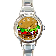 Fast Food Lunch Dinner Hamburger Cheese Vegetables Bread Round Italian Charm Watch by Mariart