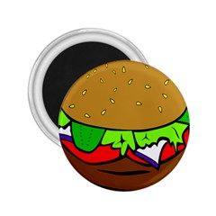 Fast Food Lunch Dinner Hamburger Cheese Vegetables Bread 2 25  Magnets by Mariart