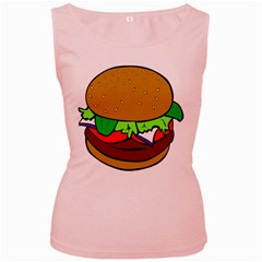 Fast Food Lunch Dinner Hamburger Cheese Vegetables Bread Women s Pink Tank Top by Mariart