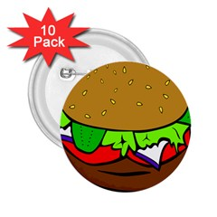 Fast Food Lunch Dinner Hamburger Cheese Vegetables Bread 2 25  Buttons (10 Pack)
