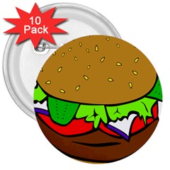 Fast Food Lunch Dinner Hamburger Cheese Vegetables Bread 3  Buttons (10 Pack)  by Mariart