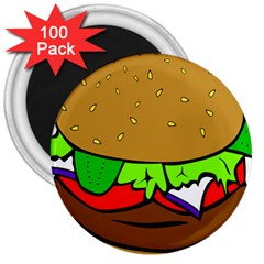 Fast Food Lunch Dinner Hamburger Cheese Vegetables Bread 3  Magnets (100 Pack) by Mariart