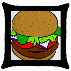 Fast Food Lunch Dinner Hamburger Cheese Vegetables Bread Throw Pillow Case (black) by Mariart
