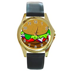 Fast Food Lunch Dinner Hamburger Cheese Vegetables Bread Round Gold Metal Watch by Mariart