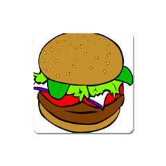 Fast Food Lunch Dinner Hamburger Cheese Vegetables Bread Square Magnet by Mariart