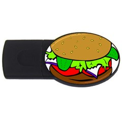 Fast Food Lunch Dinner Hamburger Cheese Vegetables Bread Usb Flash Drive Oval (2 Gb) by Mariart