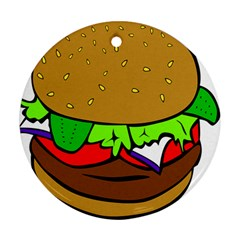 Fast Food Lunch Dinner Hamburger Cheese Vegetables Bread Round Ornament (two Sides) by Mariart