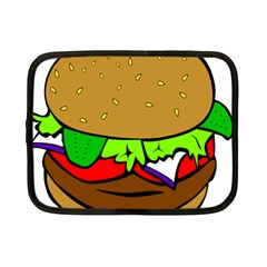 Fast Food Lunch Dinner Hamburger Cheese Vegetables Bread Netbook Case (small)  by Mariart