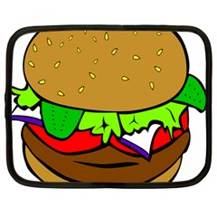 Fast Food Lunch Dinner Hamburger Cheese Vegetables Bread Netbook Case (large) by Mariart