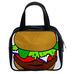 Fast Food Lunch Dinner Hamburger Cheese Vegetables Bread Classic Handbags (2 Sides) by Mariart