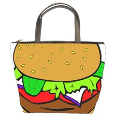 Fast Food Lunch Dinner Hamburger Cheese Vegetables Bread Bucket Bags by Mariart