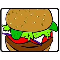 Fast Food Lunch Dinner Hamburger Cheese Vegetables Bread Fleece Blanket (large)  by Mariart