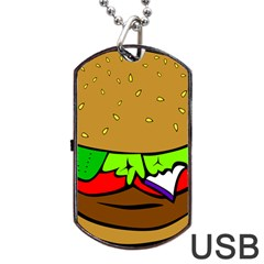 Fast Food Lunch Dinner Hamburger Cheese Vegetables Bread Dog Tag Usb Flash (two Sides) by Mariart