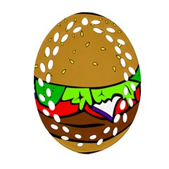 Fast Food Lunch Dinner Hamburger Cheese Vegetables Bread Ornament (oval Filigree) by Mariart