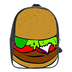 Fast Food Lunch Dinner Hamburger Cheese Vegetables Bread School Bags (xl)  by Mariart