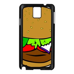 Fast Food Lunch Dinner Hamburger Cheese Vegetables Bread Samsung Galaxy Note 3 N9005 Case (black) by Mariart