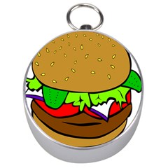 Fast Food Lunch Dinner Hamburger Cheese Vegetables Bread Silver Compasses by Mariart