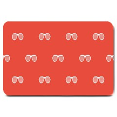 Glasses Disco Retina Red White Line Large Doormat  by Mariart