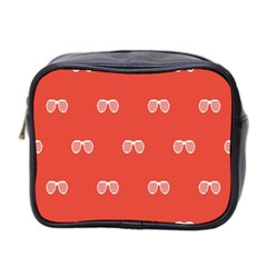 Glasses Disco Retina Red White Line Mini Toiletries Bag 2 Side by Mariart