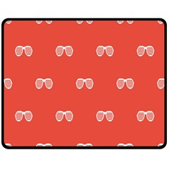 Glasses Disco Retina Red White Line Double Sided Fleece Blanket (medium)  by Mariart