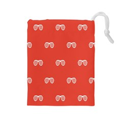 Glasses Disco Retina Red White Line Drawstring Pouches (large)  by Mariart
