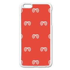 Glasses Disco Retina Red White Line Apple Iphone 6 Plus/6s Plus Enamel White Case by Mariart
