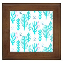 Forest Drop Blue Pink Polka Circle Framed Tiles by Mariart