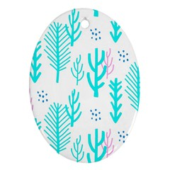 Forest Drop Blue Pink Polka Circle Ornament (oval) by Mariart